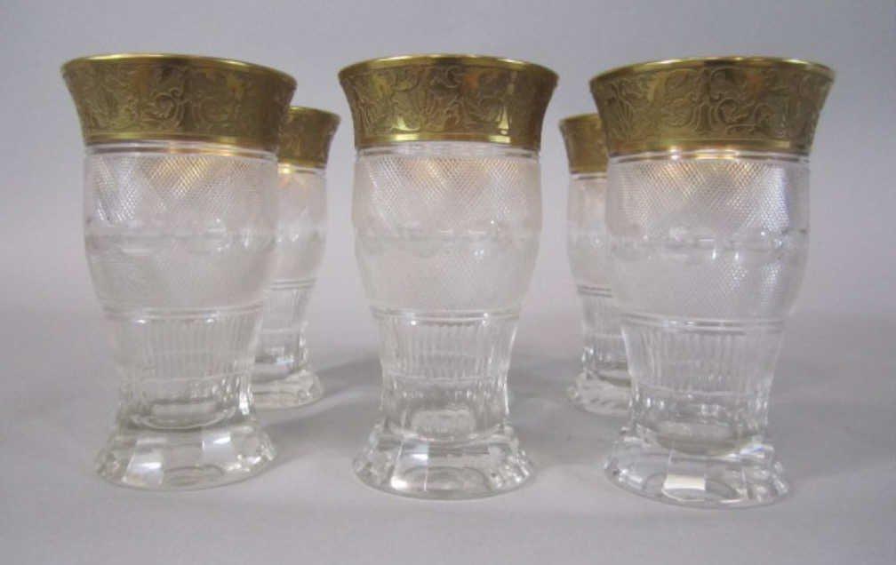 42: H80-198  SET OF 6 MOSER SPLENDID GOLD TUMBLERS