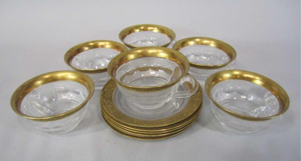 43: H80-199  SET OF 6 MOSER SPLENDID GOLD SHERBERTS