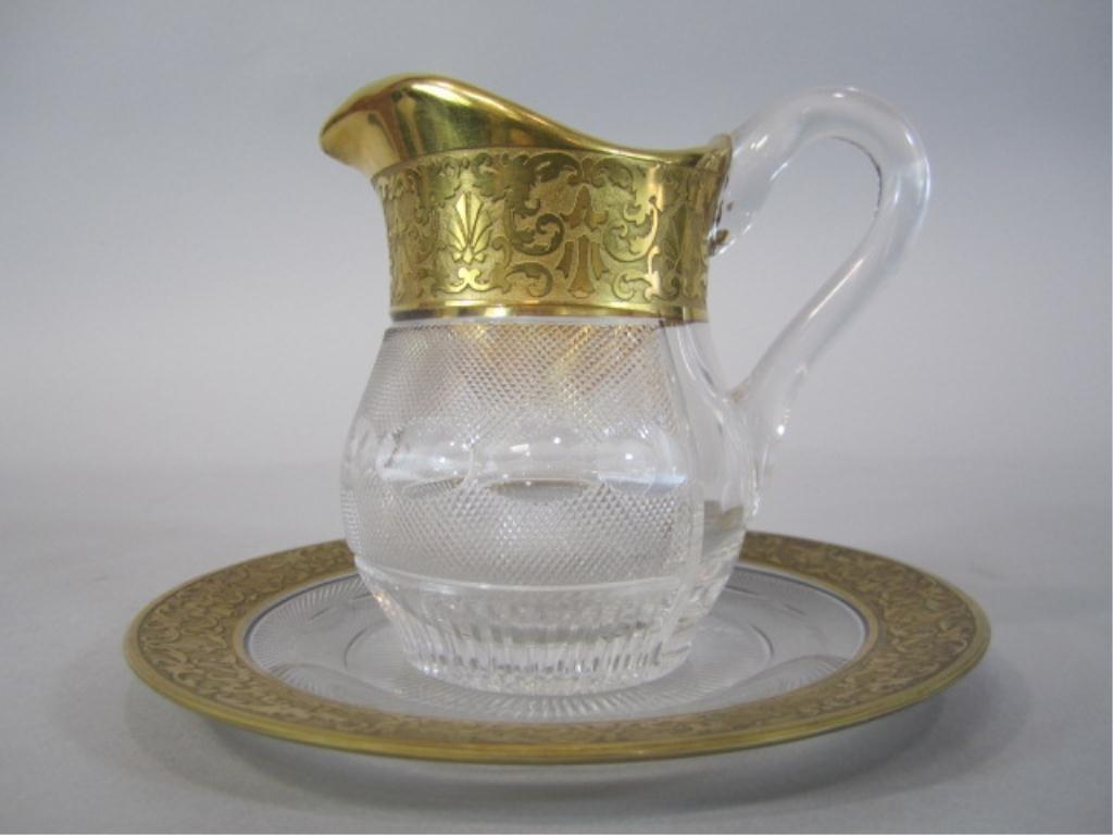 47: H80-203  MOSER SPLENDID GOLD PITCHER & PLATE