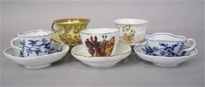 418: H80-234 SET OF 5 MEISSEN CUPS & SAUCERS