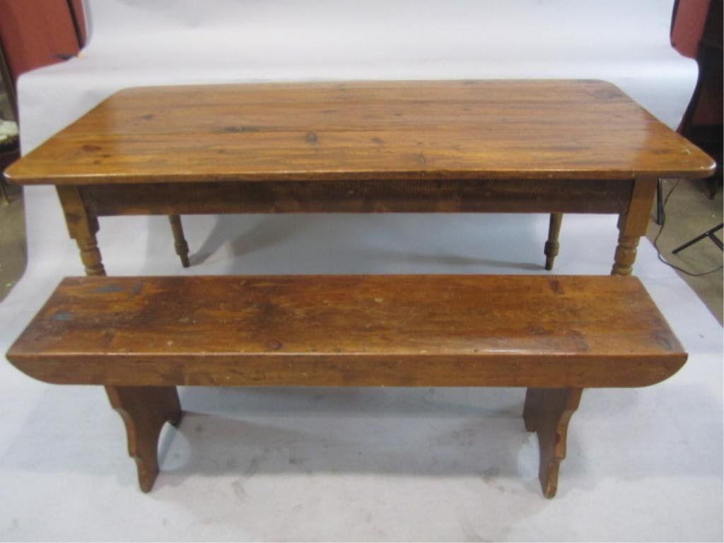 67B: H38-2  ANTIQUE PINE TABLE WITH BENCH