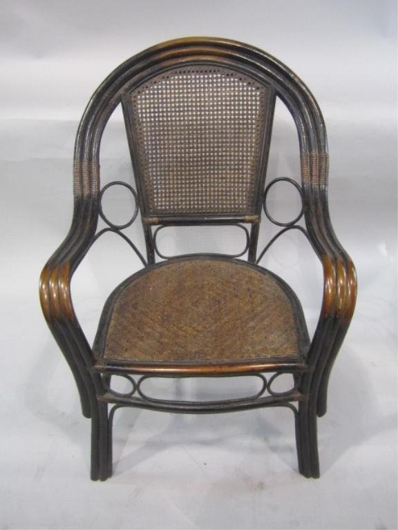 67E: H38-5  CHINESE RATTAN CHAIR WITH CANE SEAT & BACK