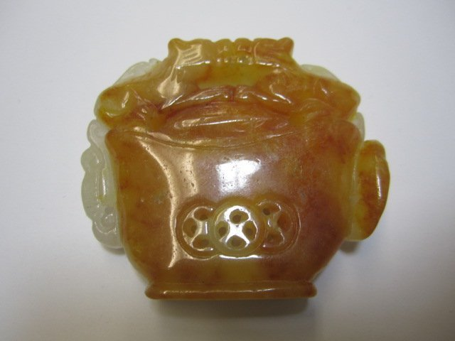 240B: A27-23  ONE TWO-TONE COLOR INTRICATE JADE CARVING