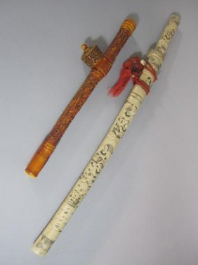 A70-9  CHINESE CARVED BONE SWORD & PIPE