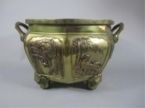 G72-1  BRONZE FOOTED JARDINIERE