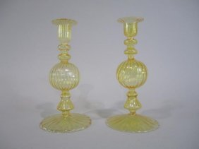 A1-1  PAIR OF VENINI CANDLE STICKS