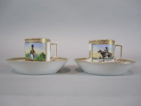 H63-14  PAIR OF RUSSIAN CUPS & SAUCERS