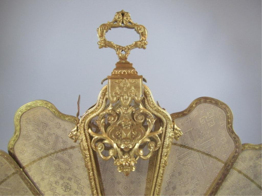 A9-13  GILT BRONZE FIREPLACE SCREEN - 7