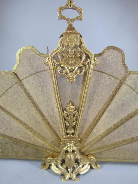 A9-13  GILT BRONZE FIREPLACE SCREEN - 9