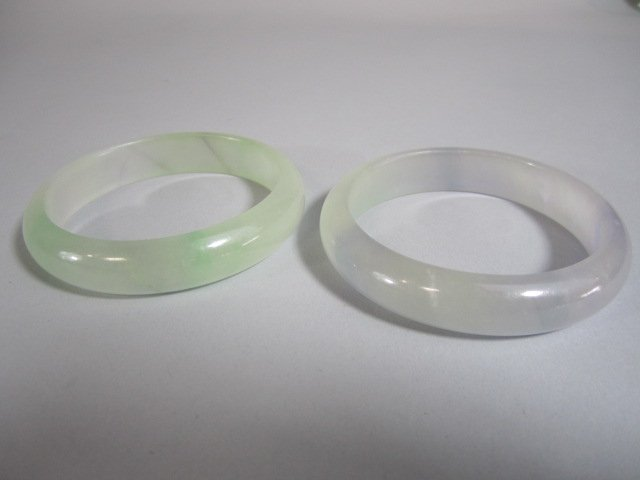 A72-30  TWO CHINESE ICE JADE BANGLE BRACELETS