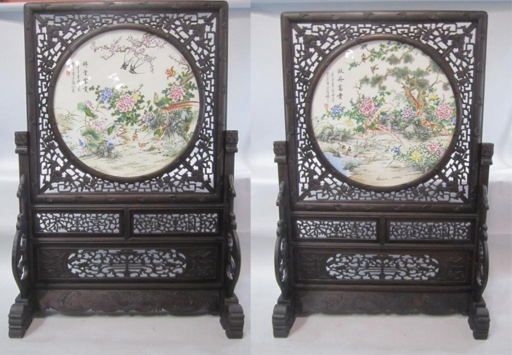 A83-13  PAIR OF WOOD & PORCELAIN  CHINESE PANEL