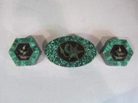 H30-3  SET OF 3 MALACHITE JEWELRY BOXES