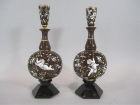 A88-3  PAIR OF FRENCH ENAMEL OVER GLASS VASES