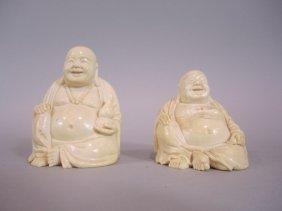 A88-19  PAIR OF CHINESE IVORY BUDDHA's