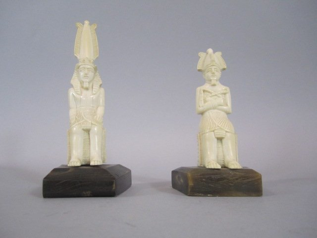 A88-20  PAIR OF IVORY EGYPTIAN KING & QUEEN