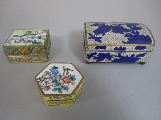 H70-28  THREE ANTIQUE TRINKET BOXES