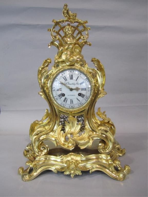 F80-1  GILT BRONZE FRENCH CLOCK MADE BY BEURDELEY