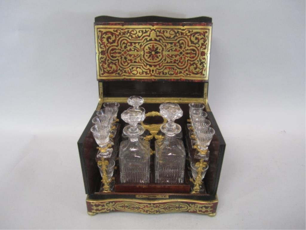 A11-2  BOULLE TURTLE SHELL LIQUOR BOX - 3