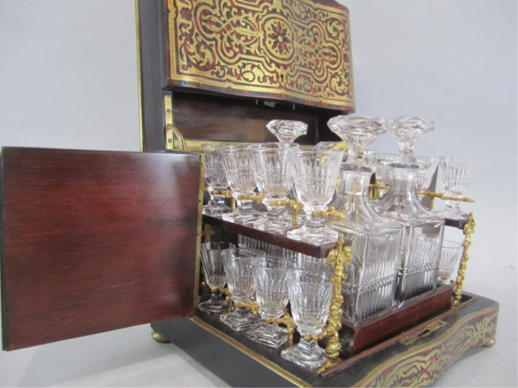 A11-2  BOULLE TURTLE SHELL LIQUOR BOX - 8