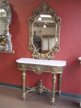 A11-3  MARBLE TOP CONSOLE WITH MIRROR