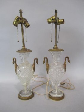 A11-4  PAIR OF BACCARAT CRYSTAL LAMPS