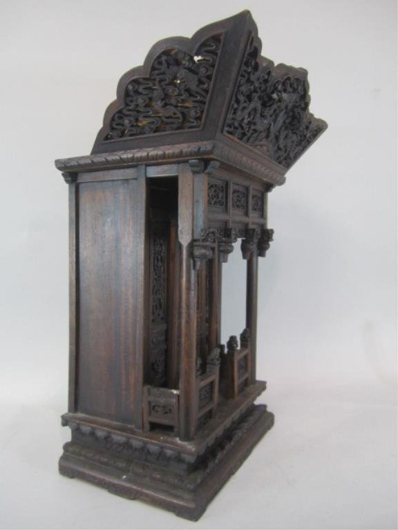 A84-11  CHINESE CARVED WOOD SHRINE - 6