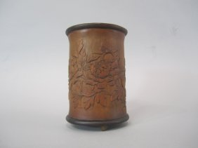 A84-25  ANTIQUE CHINESECARVED WOOD BRUSH POT