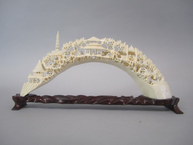 A84-32  CHINESE CARVED IVORY BRIDGE - 7