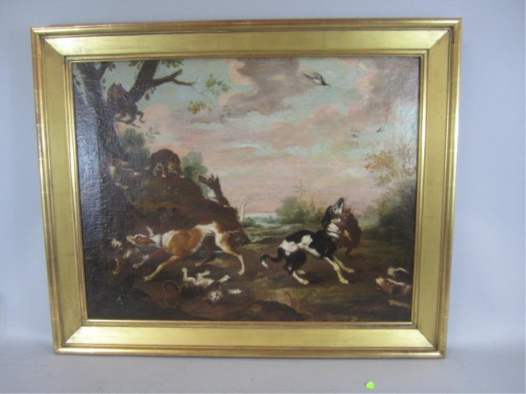 A44-38  DOGS & CATS FIGHTING OIL PAINTING