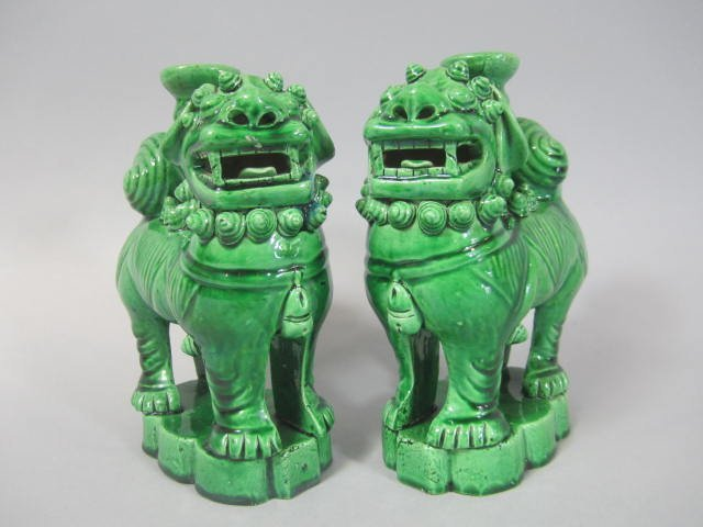C45-1  PAIR OF CHINESE GREEN GLAZED FOO DOGS