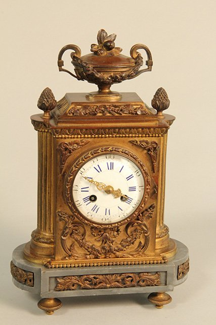 C45-4  FRENCH BRONZE CLOCK ON MARBLE BASE
