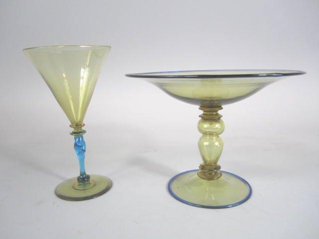 H25-4 Steuben Wine Glass & Venetian Compote