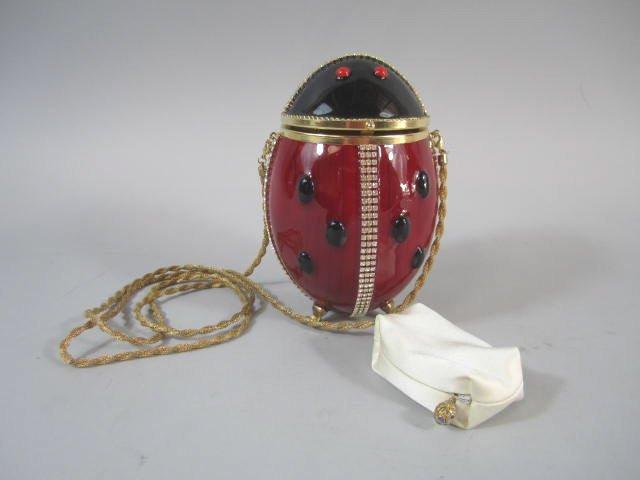 "A77-19 Vivian Alexander ""Lady Bug"" Egg Shell Purse"