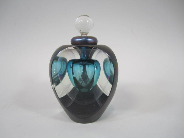 A77-21  Art Glass Perfume Bottle with Stopper