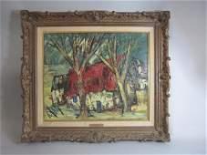 A77-13 Farm Scene Oil on Canvas By D'Auty Henry