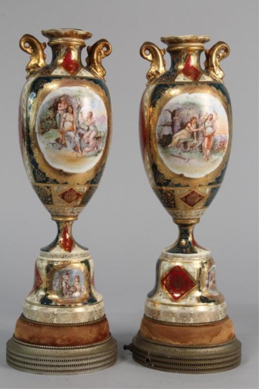 J19-2  Pair  Porcelain Lamp Bases Scene of 3 Women