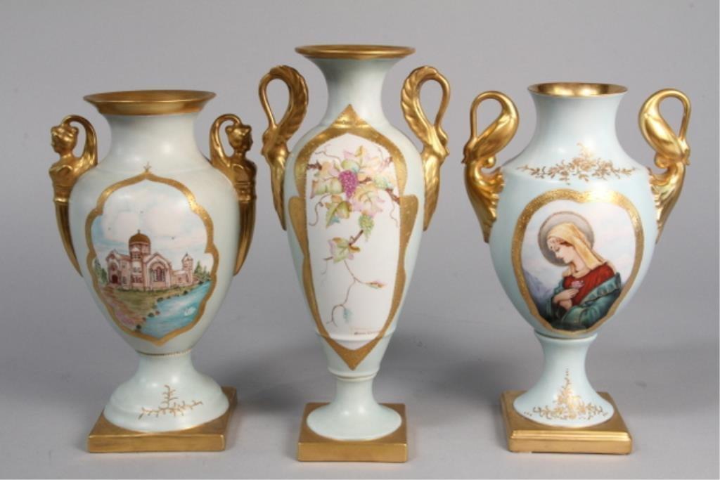 J19-4  German Hand Painted Vases Set of 3