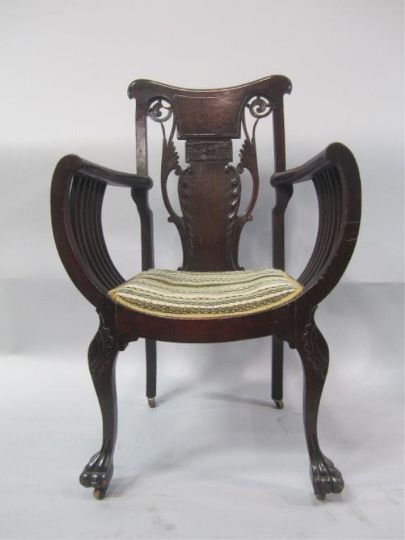 A86-30  Carved 19th Century Chair