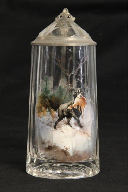 A45-27  German Hand Painted Crystal Stein