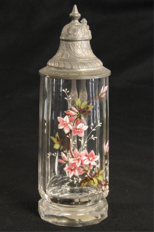 A45-28  German Hand Painted Crystal Stein