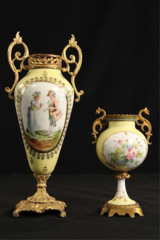 A45-30  Two Sevres Porcelain Urns