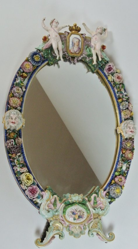 A LARGE 19TH CENTURY LARGE MEISSEN STYLE MIRROR