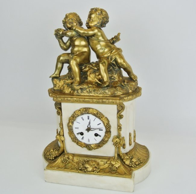 19TH CENTURY GILT BRONZE AND MARBLE CLOCK