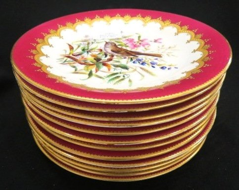 SET OF 12 TIFFANY & CO. HAND PAINTED PLATES