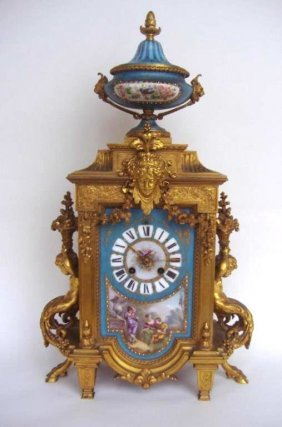 25 - SEVRES PORCELAIN & GILT BRONZE CLOCK