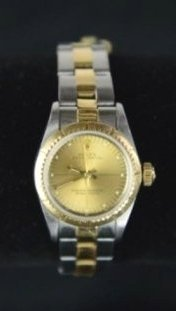 LADY ROLEX OYSTER PERPETUAL TWO TONE WRISTWATCH