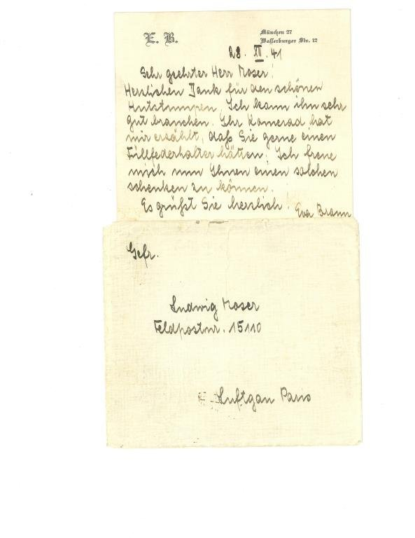Executive Auto Shippers >> SIGNED LETTER WITH ENVELOPE FROM EVA BRAUN