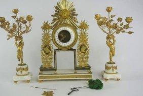 BH2  19th CENTURY ORMOLU & MARBLE 3PC. CLOCK SET