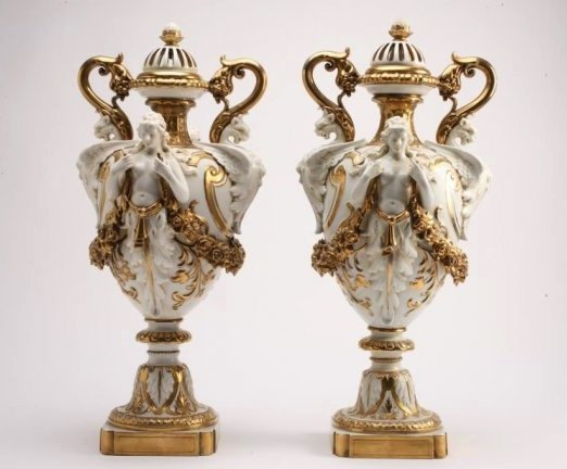 BH278  PAIR OF 19th CENTURY CAPODIMONTE VASES