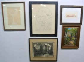 ASSORTMENT OF  FIVE PIECES OF ART